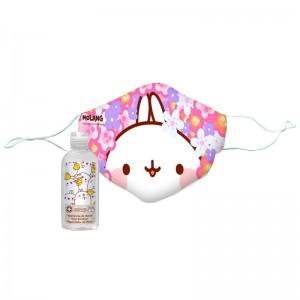 Molang Flowers reusable face mask + hydroalcoholic gel 100ml