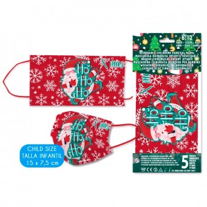 Christmas set 5 disposable childrens surgical masks