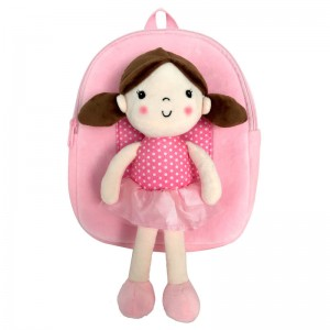 Hug Me backpack with pink doll 28cm