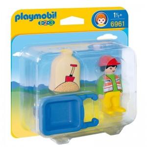 Playmobil 1.2.3 Worker with wheel barrow