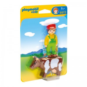 Playmobil 1.2.3 Farmer with cow