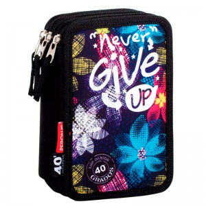 Perona Never Give Up triple pencil case