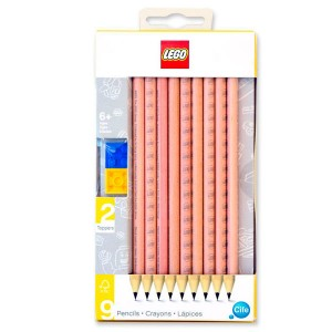 Lego pencil pack of 9 + 2 toppers