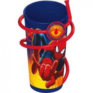 Marvel Spiderman tumbler with straw.