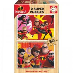 Disney The Incredibles 2 wood puzzle 2x50pcs