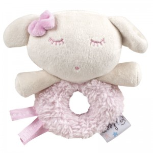 Eileen the Sleep Baby pink soft plush rattle