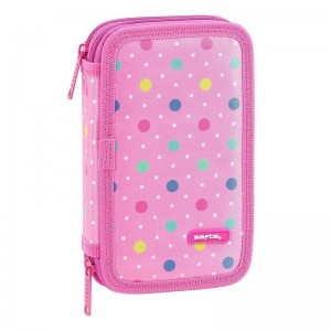Safta Dots Pink double pencil case 28pcs