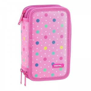 Safta Dots Pink triple pencil case 36pcs