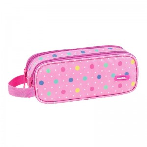 Safta Dots Pink double pencil case