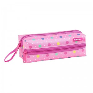 Safta Dots Pink triple pencil case