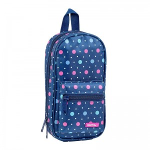 Safta Dots Blue 4 filled pencil case rucksack