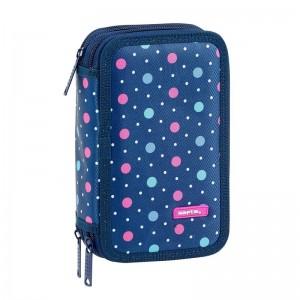 Safta Dots Blue triple pencil case 36pcs