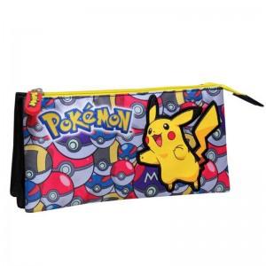 Pokemon Pikachu triple pencil case