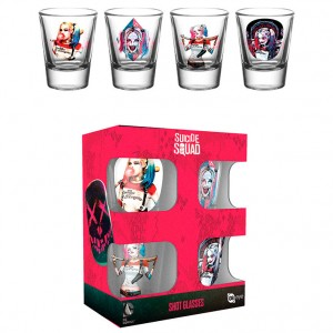 DC Comics Suicide Squad Harley Quinn pack 4 shot glasses