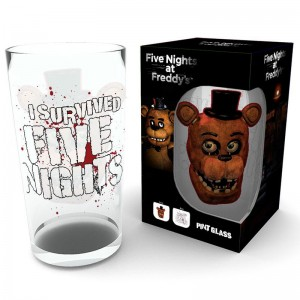 Five Nights at Freddys Fazbear pint glass