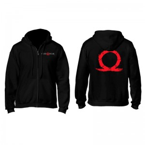 God of War Serpent Logo zip black hoodie