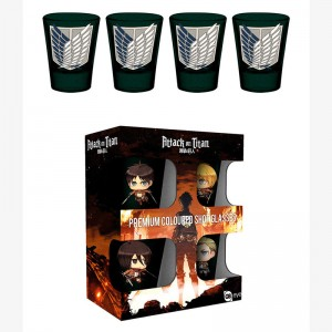 Attack on Titan Season 2 Symbols pack 4 premium coloured shot glasses