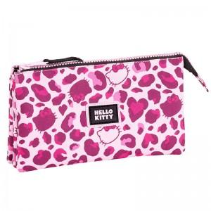 Hello Kitty leopard triple pencil case