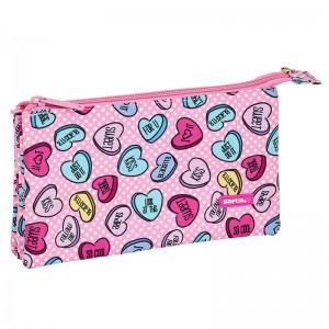 Safta Sweet Heart Pink triple pencil case