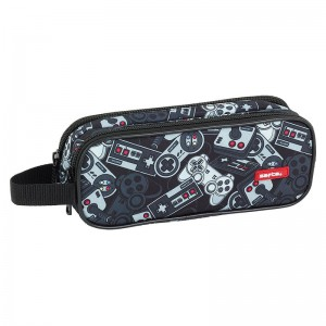 Safta Welcome Gamers Black double pencil case