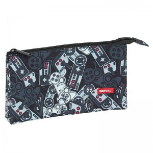 Safta Welcome Gamers Black triple pencil case