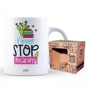Book Never Stop Reading mug