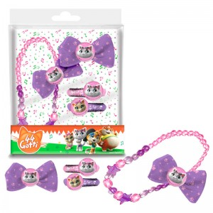 44 Cats hair accessories set + necklace