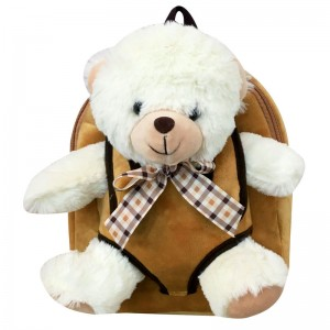 Hug Me backpack with White Bear plush toy 28cm
