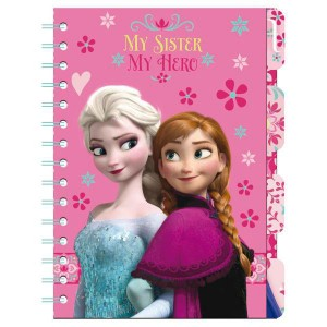 Frozen notebook with bookmarks