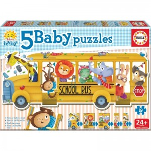 Baby puzzle school bus animals