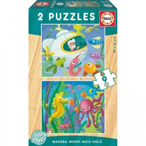 Aquatic Animals wood puzzle 2x9pcs