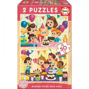 Birthday party wood puzzle 2x16pcs