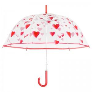 Hearts automatic transparent bubble widproof umbrella 61cm