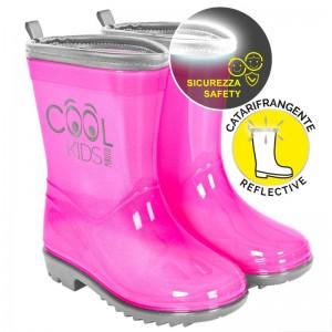 Cool Kids pink reflective rainboots