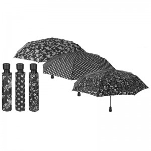 Black and White automatic folding assorted umbrella 54cm