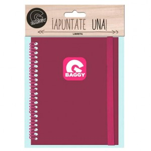 Baggy fuchsia notebook