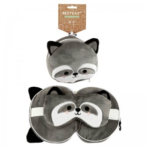 Resteazzz Raccoon round travel pillow and eye mask