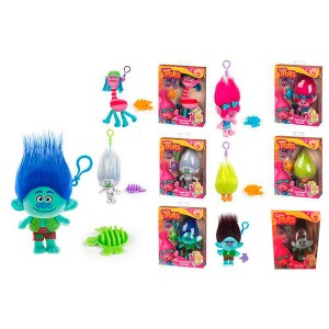 Trolls assorted soft plush key ring 15-20cm