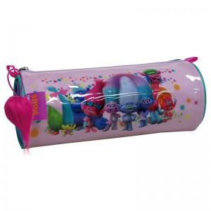 Trolls True Colors cylindrical pencil case with light